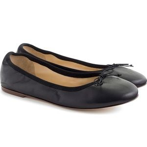 J.Crew 7.5 Black leather classic ballet flats